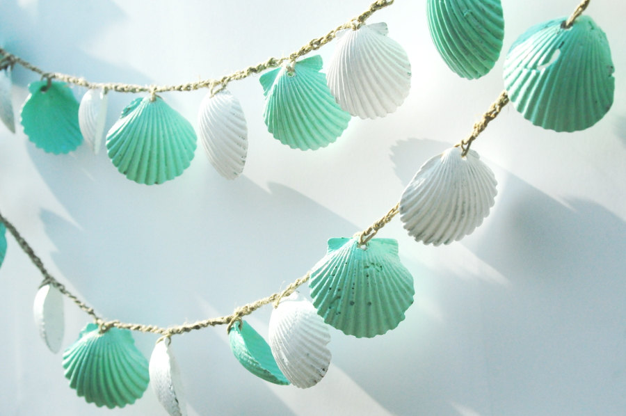 mint and white seashell wedding garland onewedcom