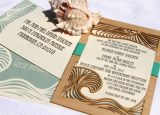 art deco beach wedding invitations