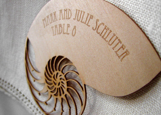 wood seashell escort card