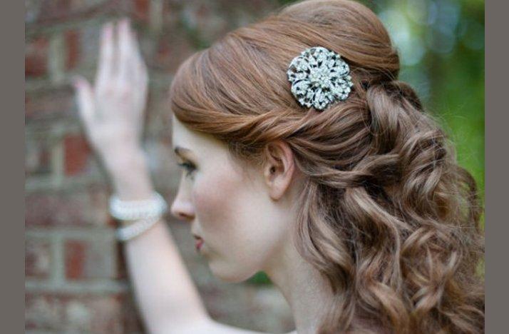 Half Up Bridal Updo Vintage Bridal Barette
