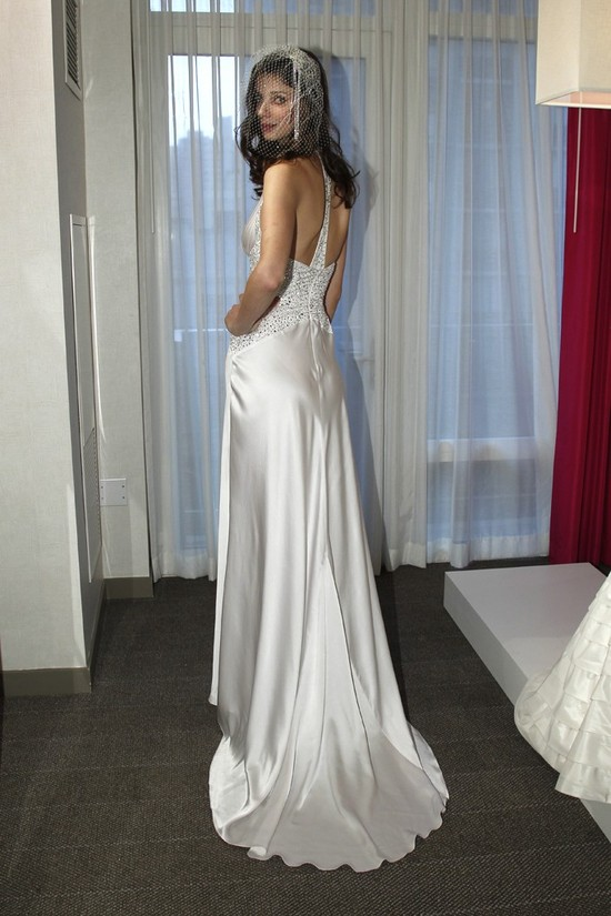 bebe wedding dress silk sultry gown with train beading