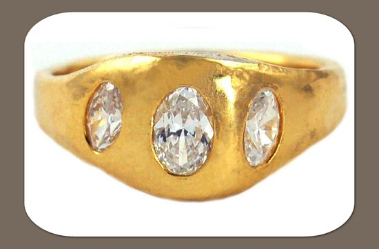 recycled gold wedding band three diamonds