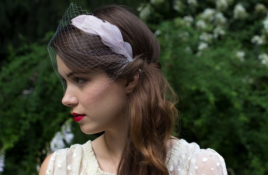Pastel purple feather headband with attached veil
