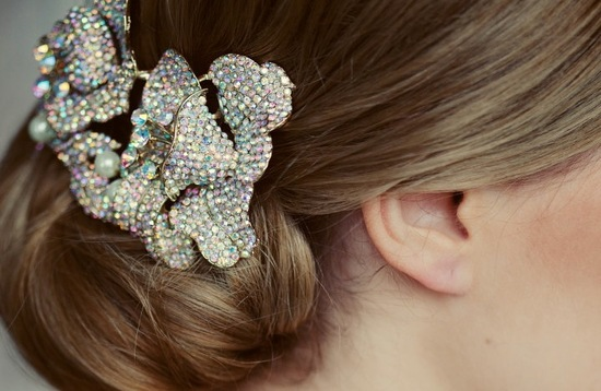 colorful crystal wedding hair clip
