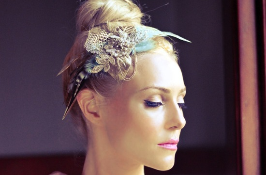 silver and blue wedding headpiece