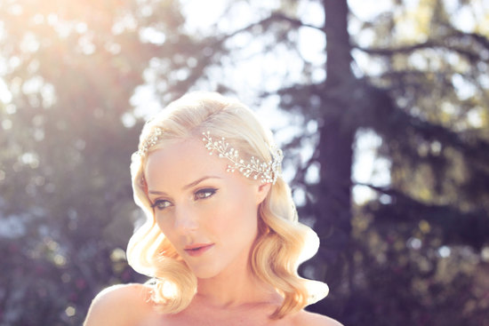 romantic wedding headpiece pearl wrap around crown