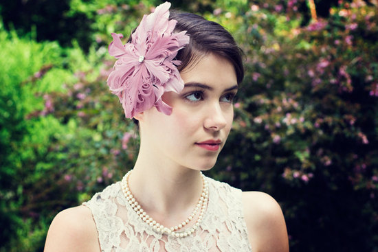 Pink feather wedding fascinator