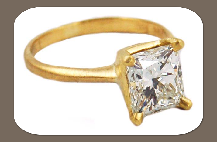 square cut diamond engagement ring yellow gold band eco friendly
