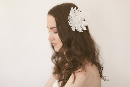 white lotus feather wedding hair flower