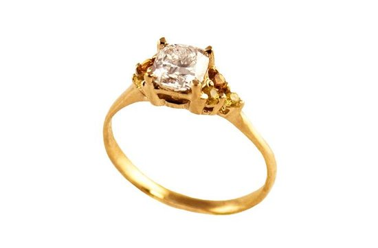 photo of gold diamond engagement ring raw diamonds
