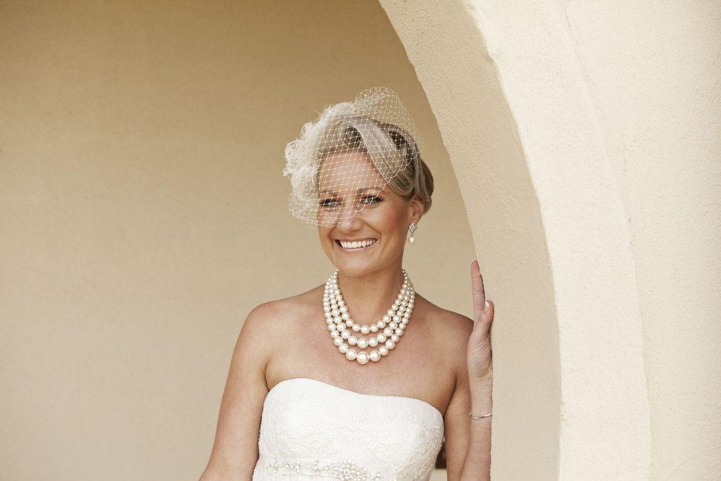 Romantic Retro Bride Strapless Wedding Dress Updo Birdcage Veil