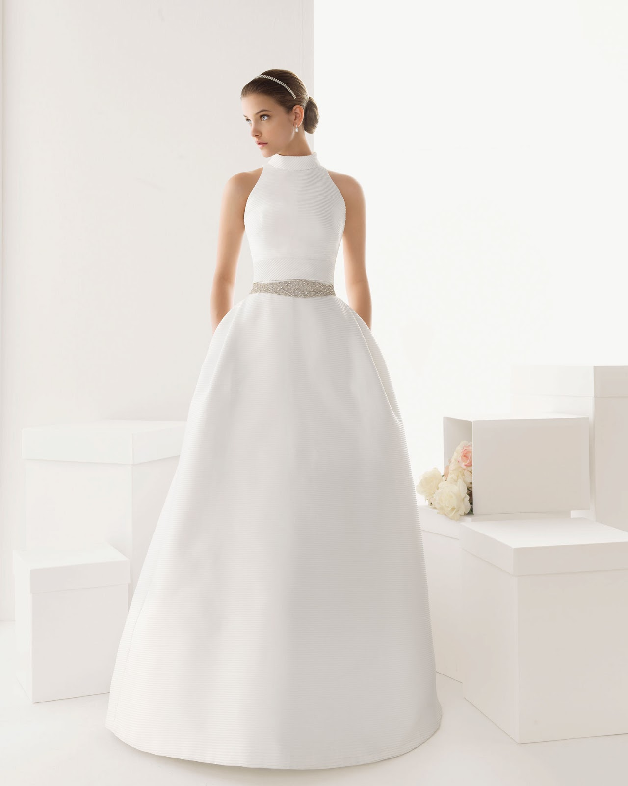 High neck wedding dress with pockets by rosa clara for Wedding dress high neck
