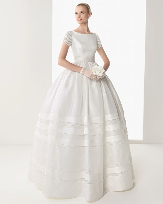 High neck wedding dress with pockets by Rosa Clara
