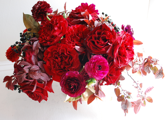 Bold red and hot pink wedding flowers