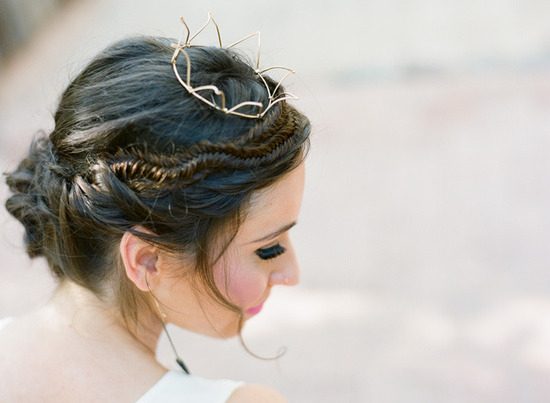 fishtail braid wedding updo