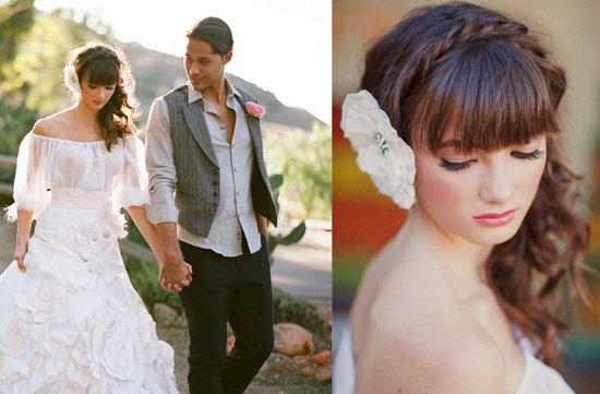 outdoor desert wedding romantic bridal hairstyle braid