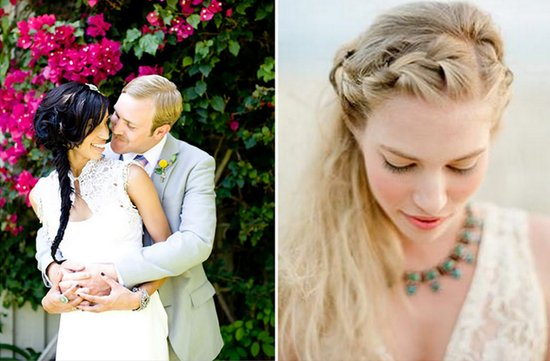 bohemian brides loose braid wedding hairstyle