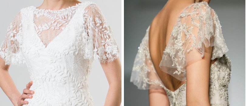 2 lace wedding dress trends spring 2014 fall 2013 junko yoshioko kenneth pool fluttery sleeves