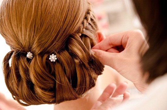 redhead bride wedding updo with braids