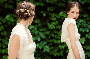 photo of braided wedding hairstyle parted down middle