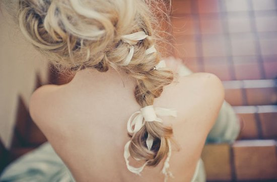 romantic braided wedding hairstyle long blonde hair