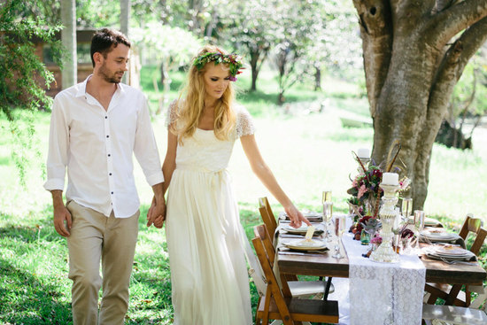 Outdoor wedding bohemian bridal gown