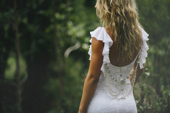 Statement back white lace wedding dress
