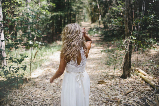 Bohemian wedding dress lace keyhole back
