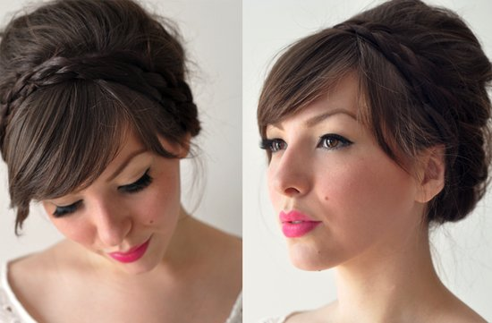 sophisticated wedding hairstyle braided headband