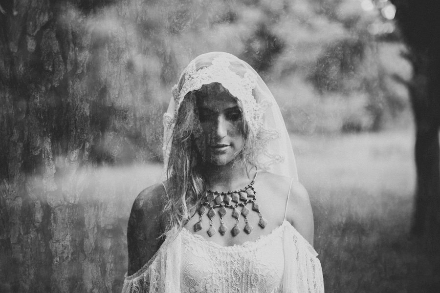 Lace mantilla and off the shoulder wedding dress