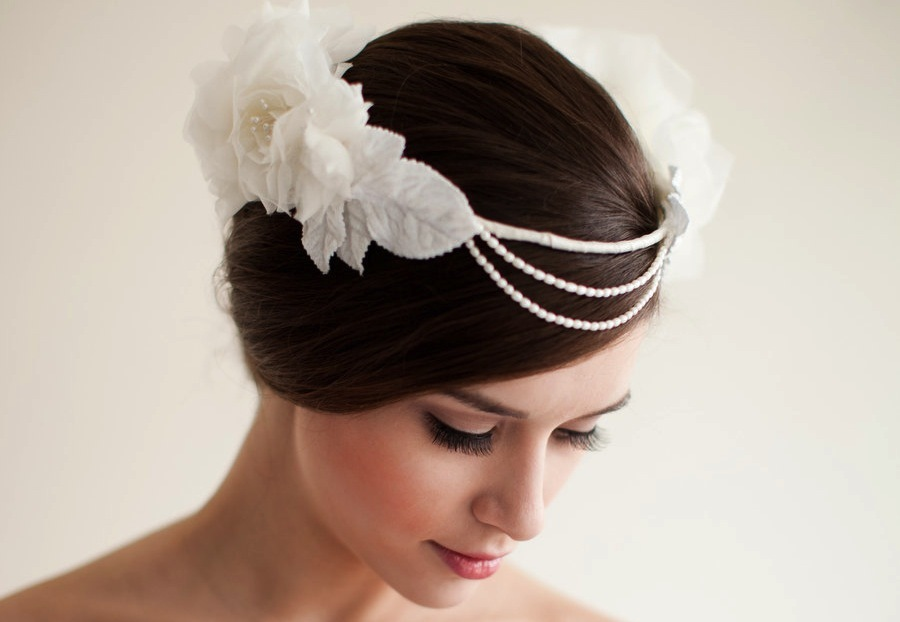 Boho bridal headdress pearls flowers