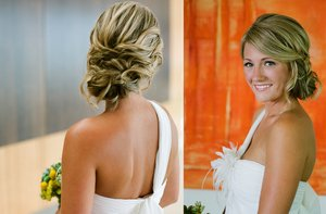 photo of sideswept braided wedding hairstyle