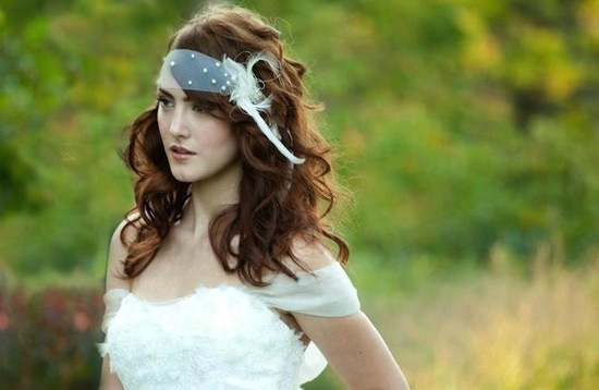 Bohemian bridal hair accessory with pearls