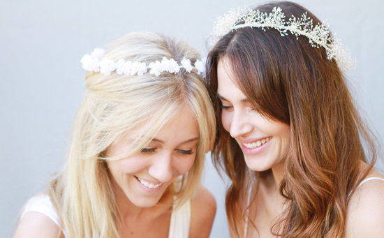 All down wedding hair with floral crowns