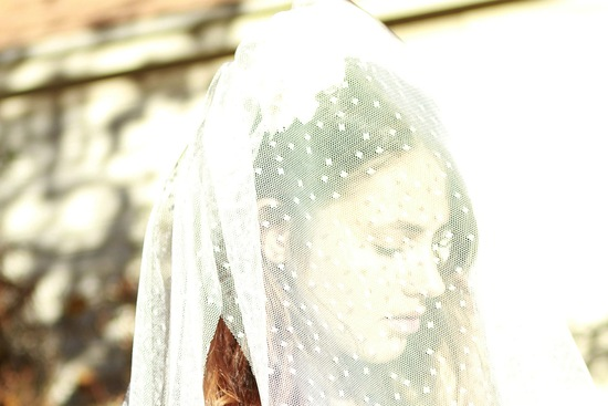 Polka dot veil for bohemian brides