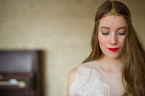 Gold boho wedding headdress