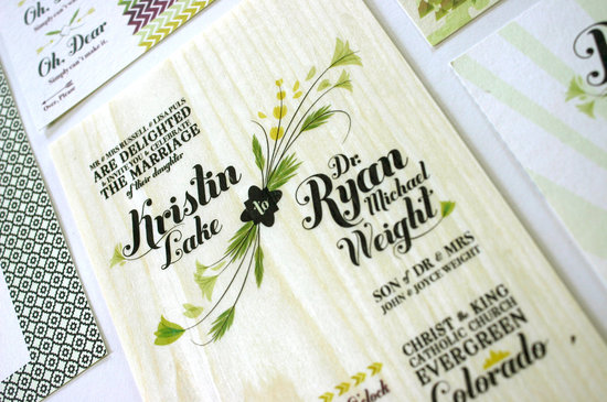 Bohemian wood wedding invitations