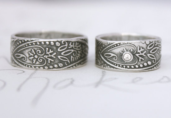 Bohemian inspired wedding ring set