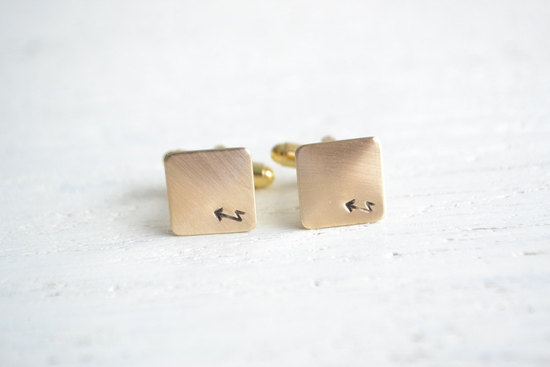 Jagged arrow groom cufflinks bohemian weddings