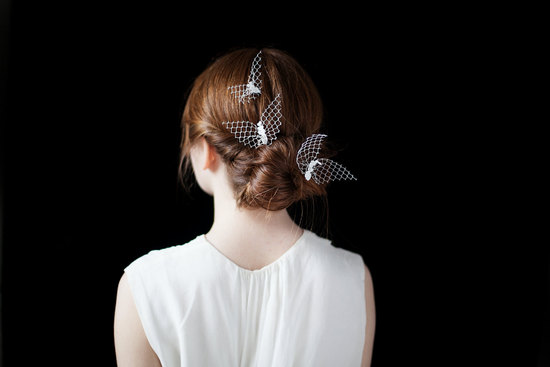 Tulle butterflies wedding hair accessories