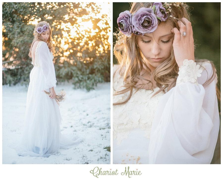 Long Sleeves Bohemian Wedding Dress Vintage