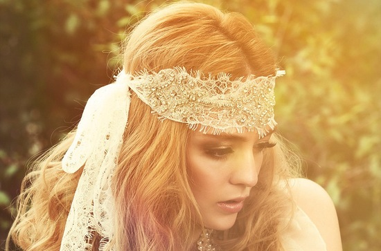 Bohemian retro bride wears lace beaded head scarf