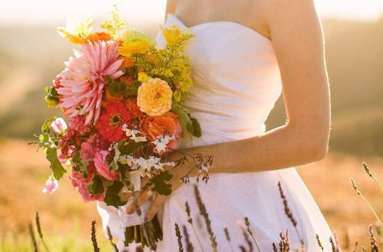 Bohemian wedding bouquet spring wildflowers