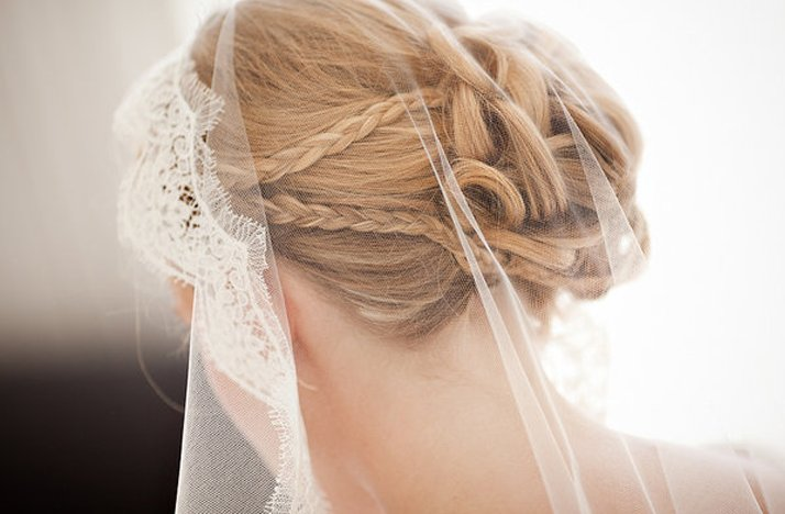 wedding hairstyle romantic bridal bun braids