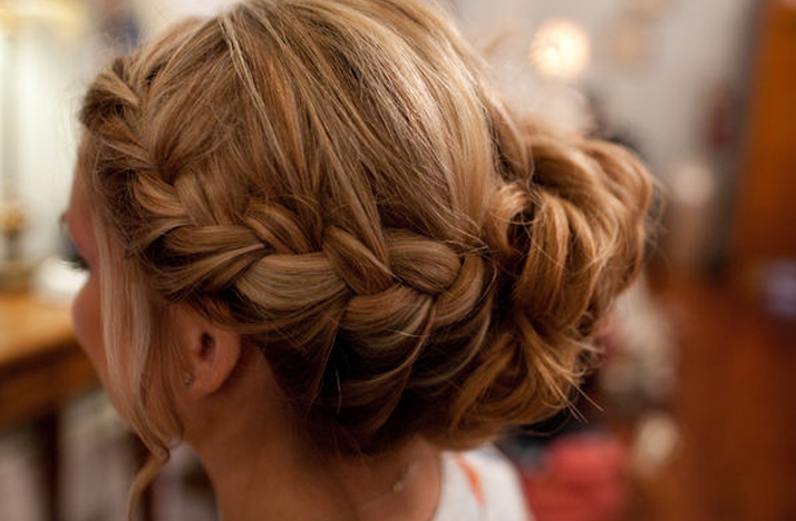 braided wedding hairstyle bridal updo | OneWed.com