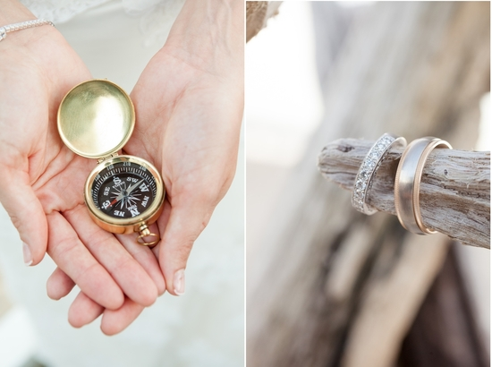 Real Wedding Long Island Throo Williams Photography by Verdi Ceremony Wedding Rings Compass