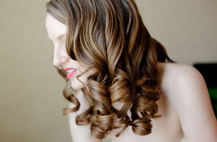 wedding hairstyle all down loose ringlets OneWed.com