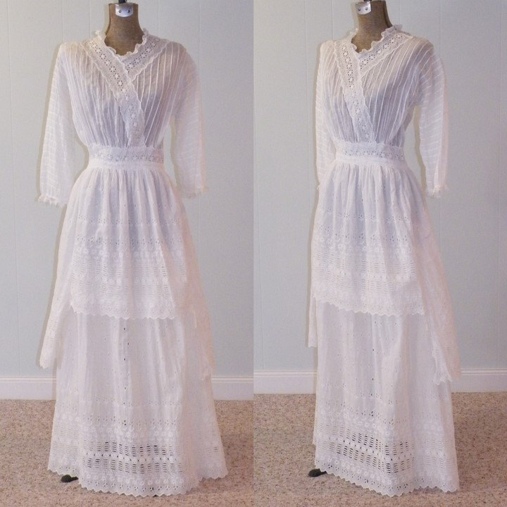 antique edwardian wedding dress crochet white
