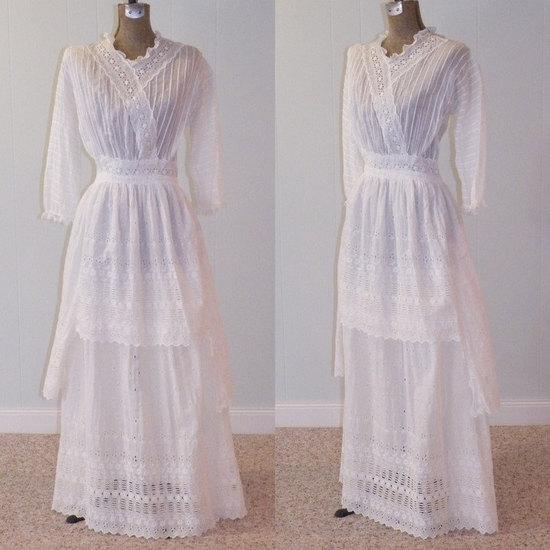 photo of Antique Edwardian 1910s wedding dress with sleeves
