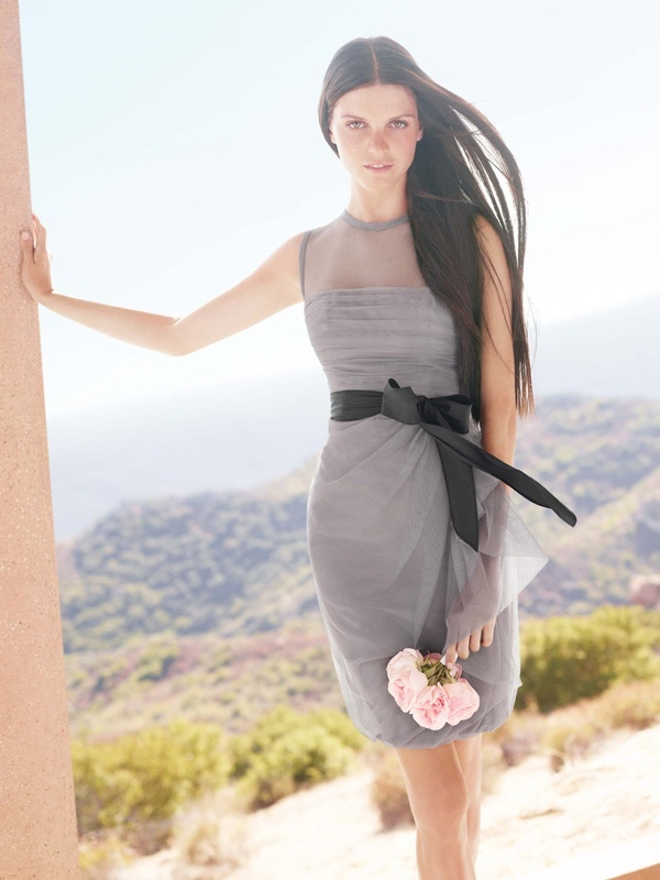 White By Vera Wang 2012 Bridesmaid Dress Illusion Neckline Grey With